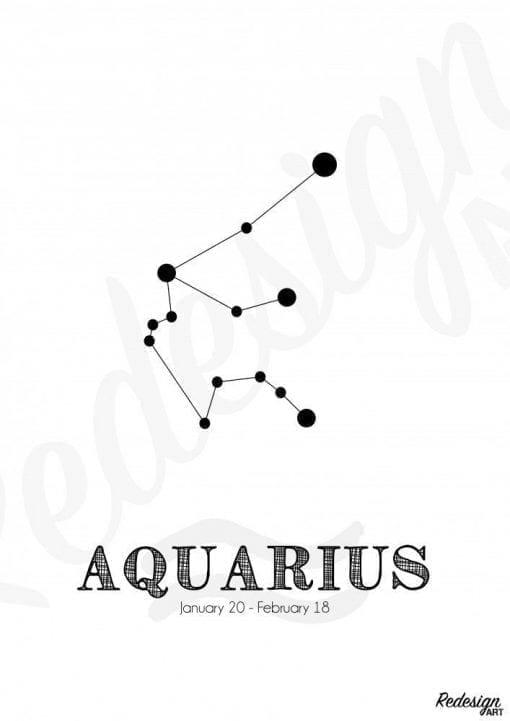 Plakat - Stjernetegn Vandmand/Aquarius
