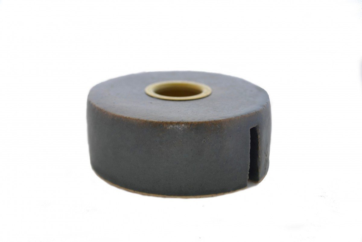 Image of   Keramik Lysestage - Grå/brun/Messing - Lav