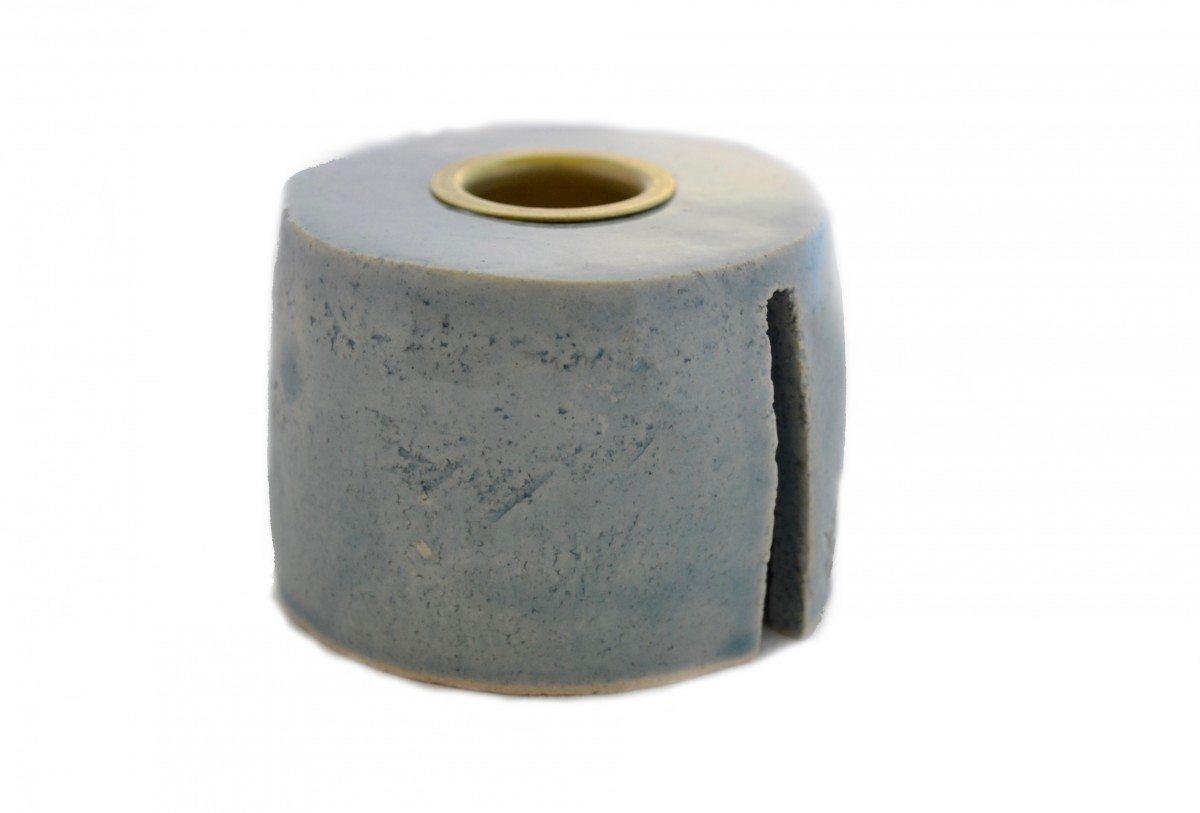 Keramik Lysestage - Lys himmelblå - Mellem