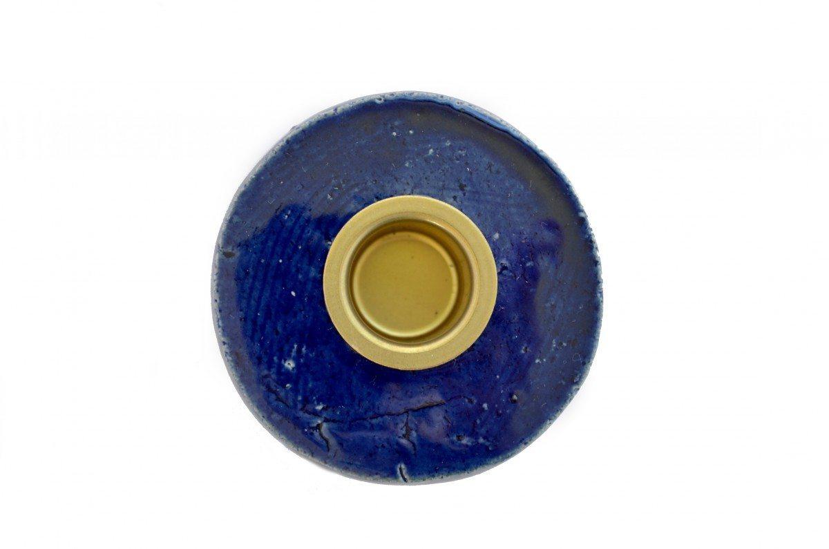 Keramik Lysestage - Kongeblå - Mellem
