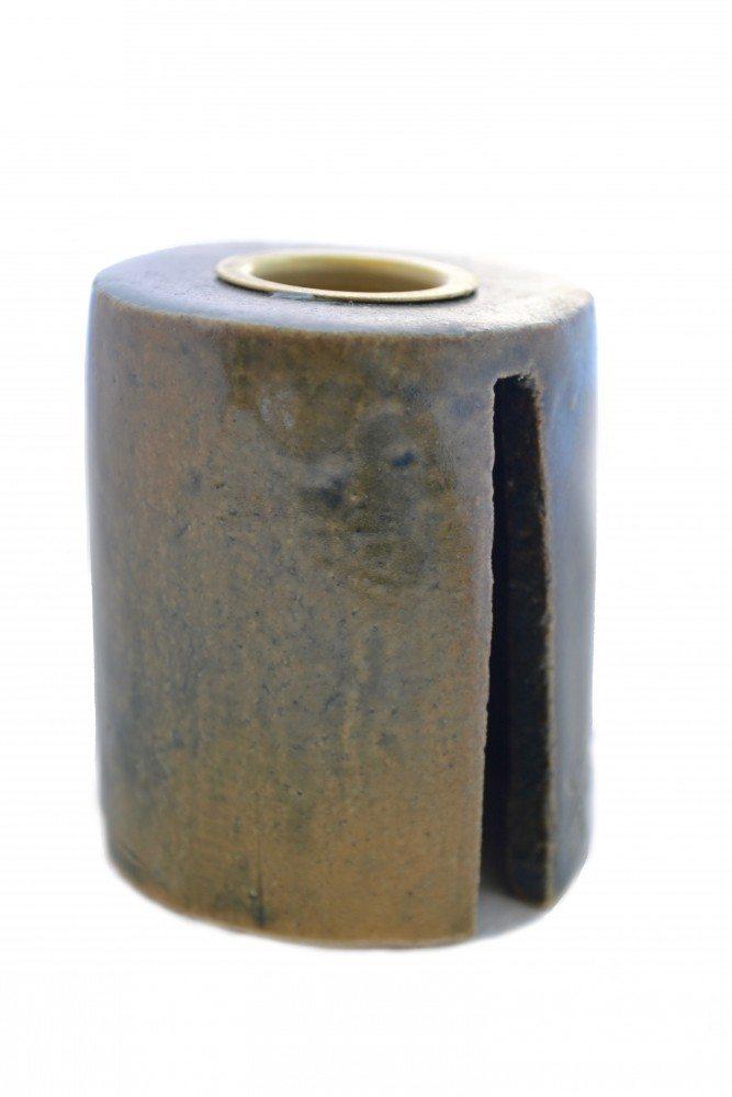 Image of   Keramik Lysestage - Grå/brun - Høj