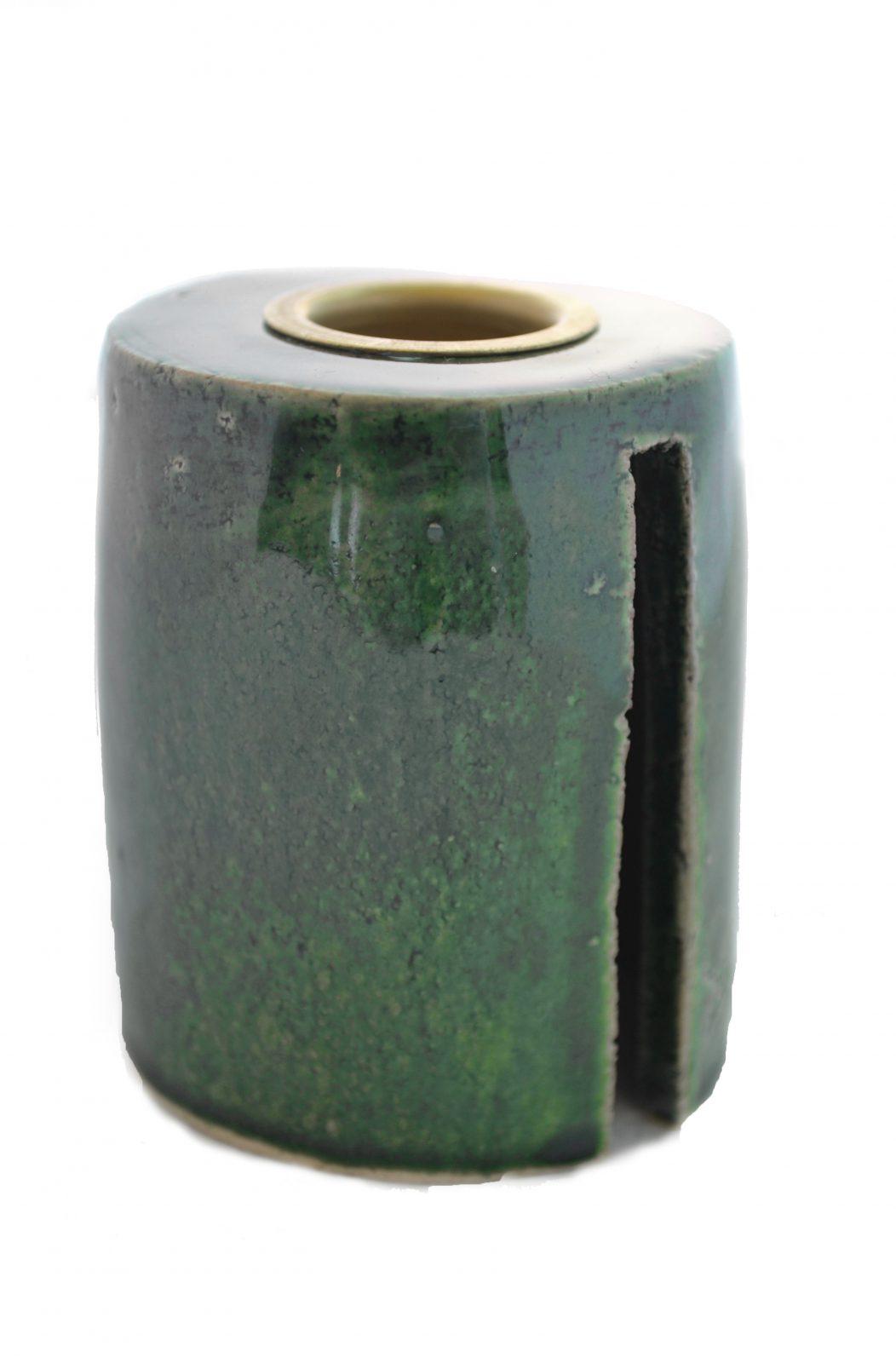 Keramik Lysestage - Grøn - Høj