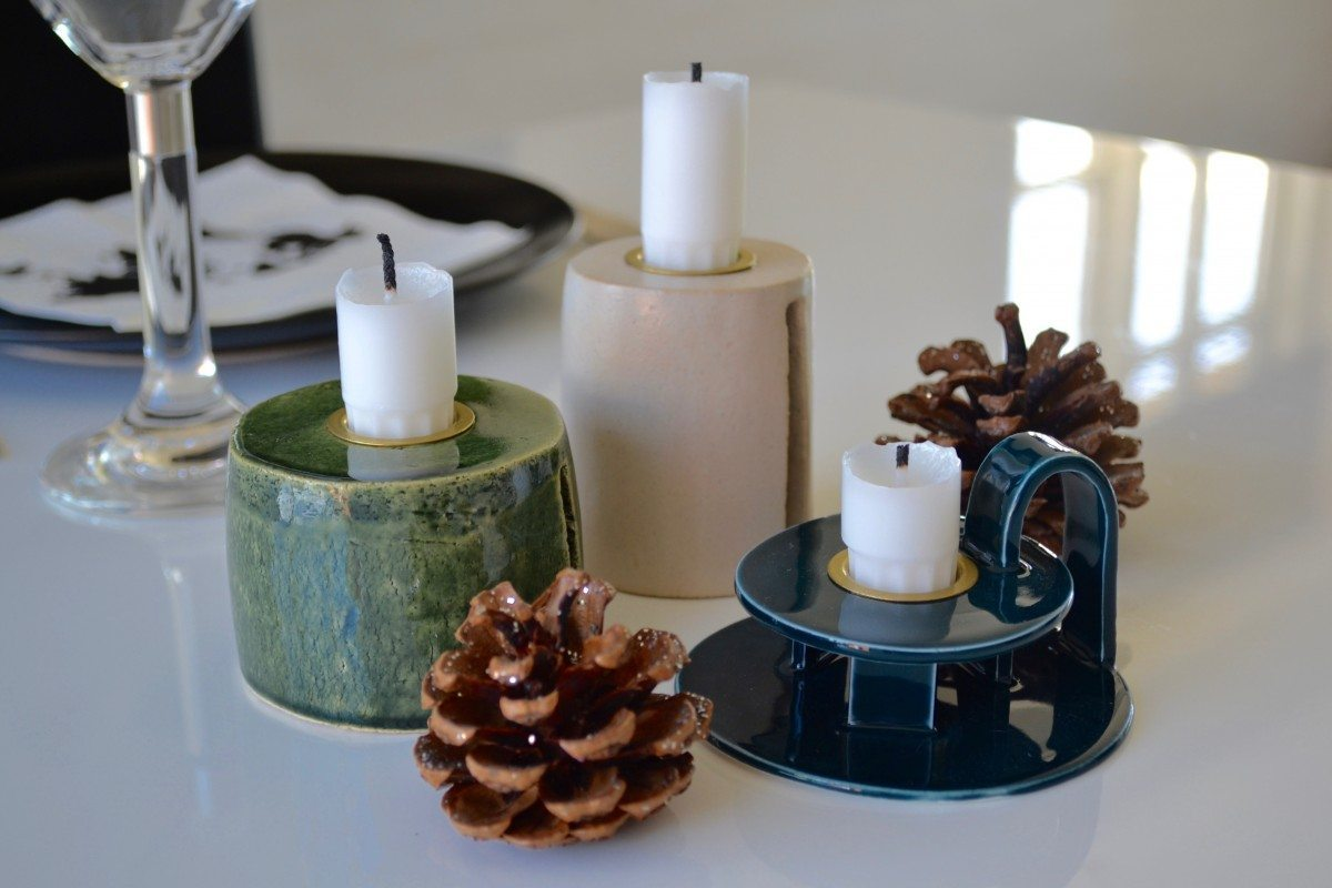 Image of   Keramik Lysestage - Grøn - Mellem