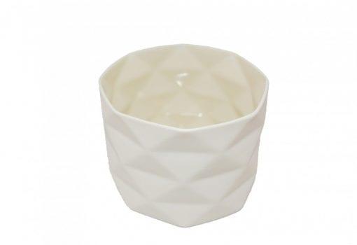 Keramik Krukke Fold i Råhvid - 9 cm