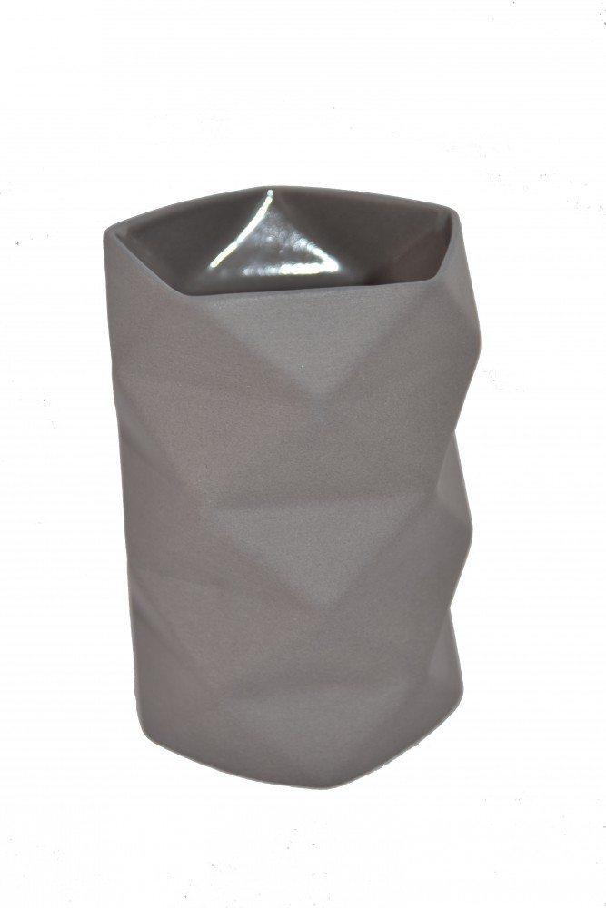 Vase Keramik Grå - Fold 10,5 cm