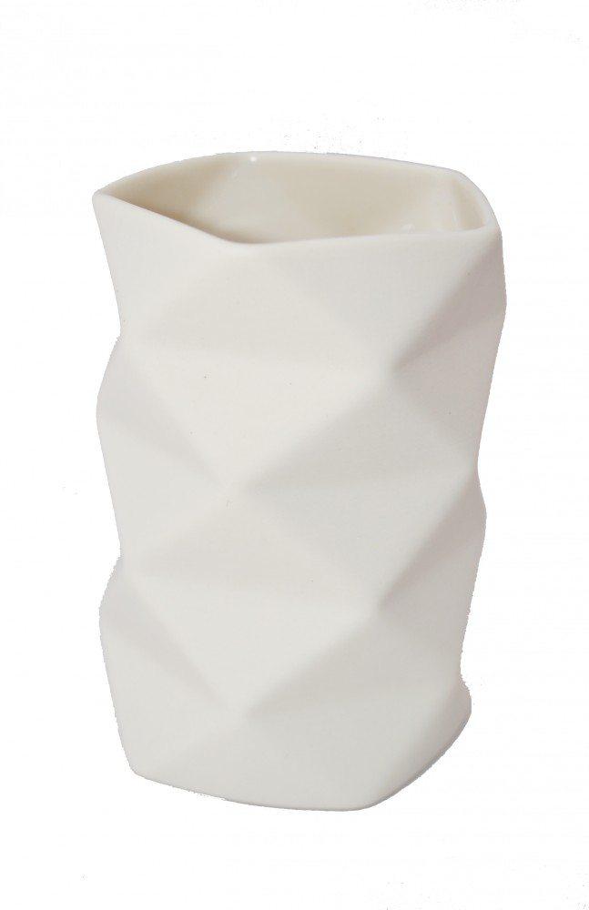 Vase Keramik Råhvid - Fold 10,5 cm