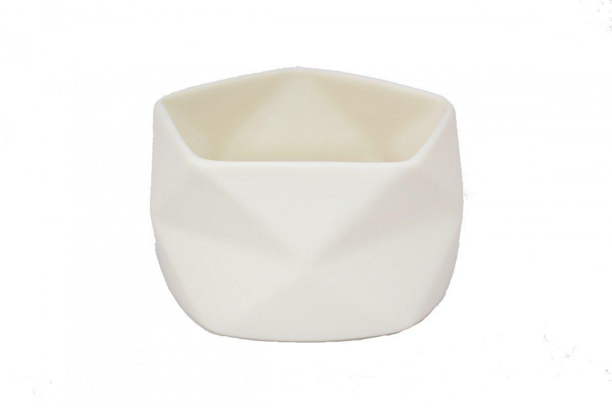 Lysestage Keramik Råhvid - Fold