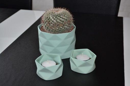 Keramik Lysestage Fold i Grøn, x-small - 7 cm