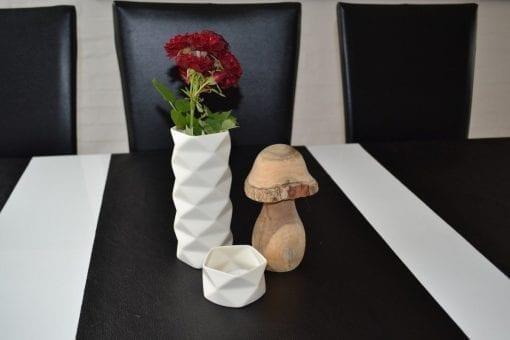 Vase Keramik Fold i Råhvid, stor - 17,5 cm