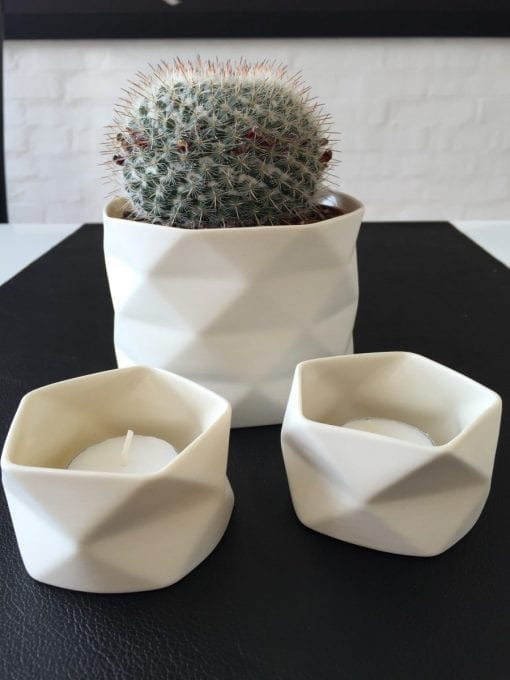 Keramik Lysestage Fold i Råhvid, x-small - 7 cm