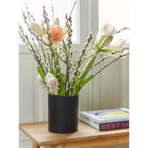 cylindervase_blomsterbuket_vase_vaser_sort vase_sej design