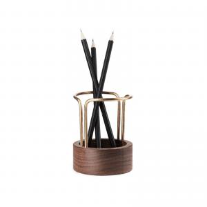 pen-up-walnut brass-dot aarhus-blyantholder-pencil holder-kontorartikler