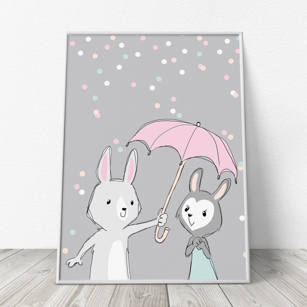 Image of   Be My Bunny Baby - Grå Børneplakat