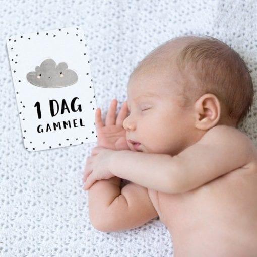 milestone baby kort - milestenskort - dansk design - 1 dag gammel - det forste aar - modernhouse.dk - prikogstreg