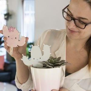 Trae kaktus - mint - pink - barselsgave - daabsgave - gave til navngivning - modernhouse.dk - prikogstreg