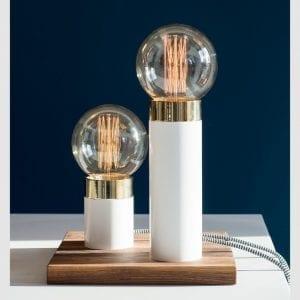 hvid bordlampe - by holmer - dansk design - pipe lamp white - modernhouse
