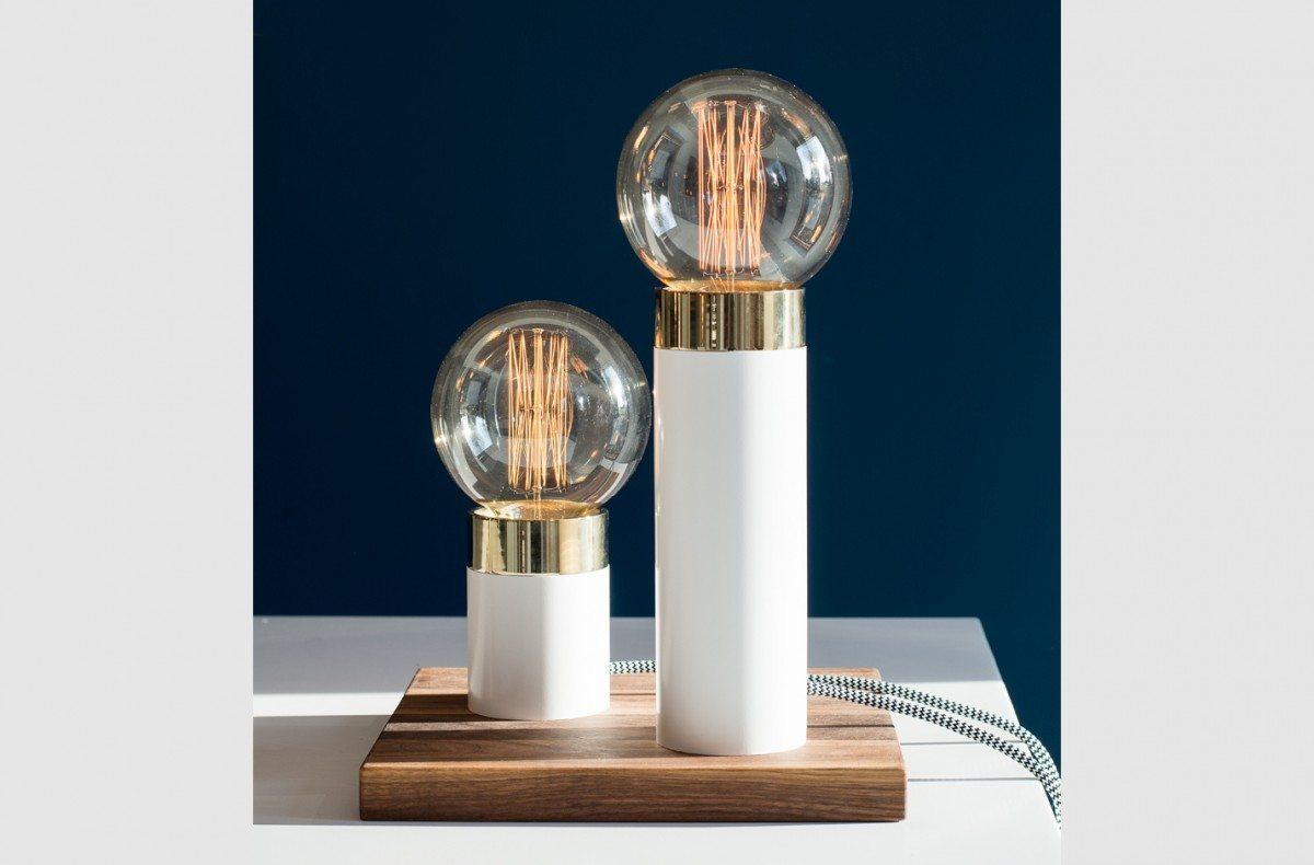 Hvid Bordlampe, Pipe Lamp Hvid/Guld