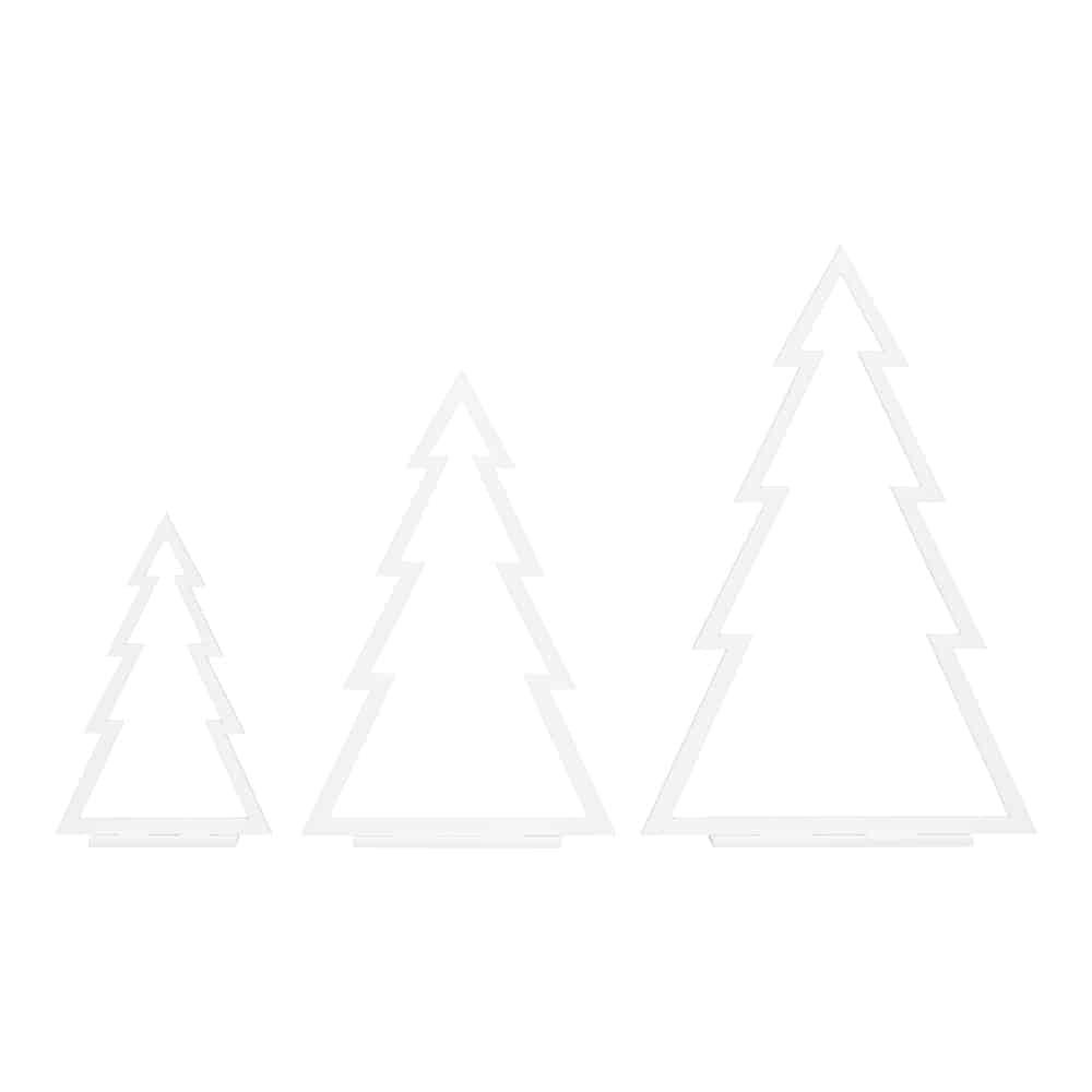 Image of   Hvide Juletræer (Streg) - Sæt med 3 stk