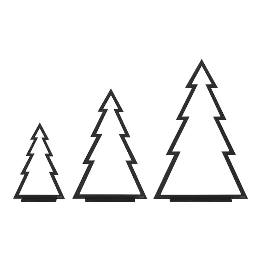 Sorte Juletræer (Streg) - Sæt med 3 stk