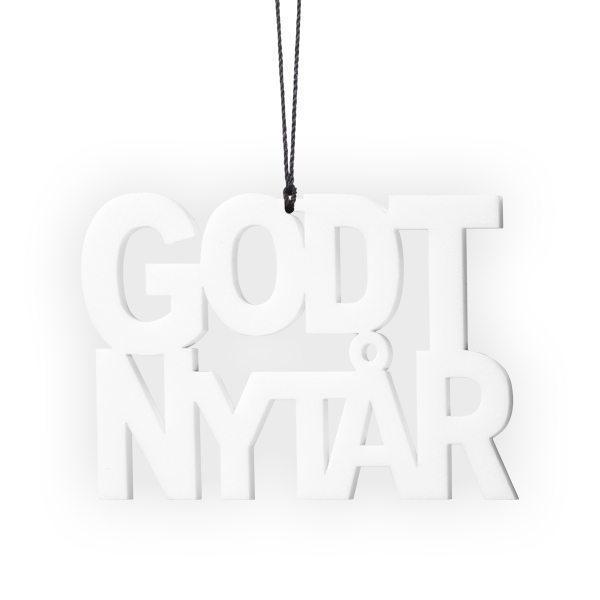 Image of   Nytårspynt - Godt Nytår i Hvid - 2 stk