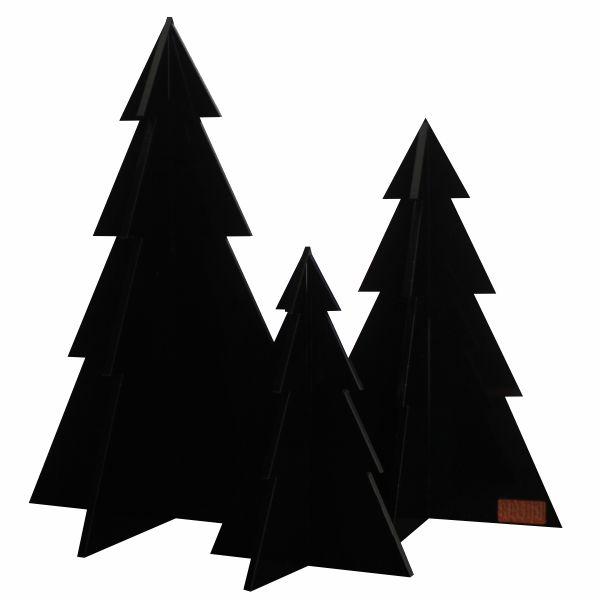 Juletræer i Sort, sæt med 3 stk