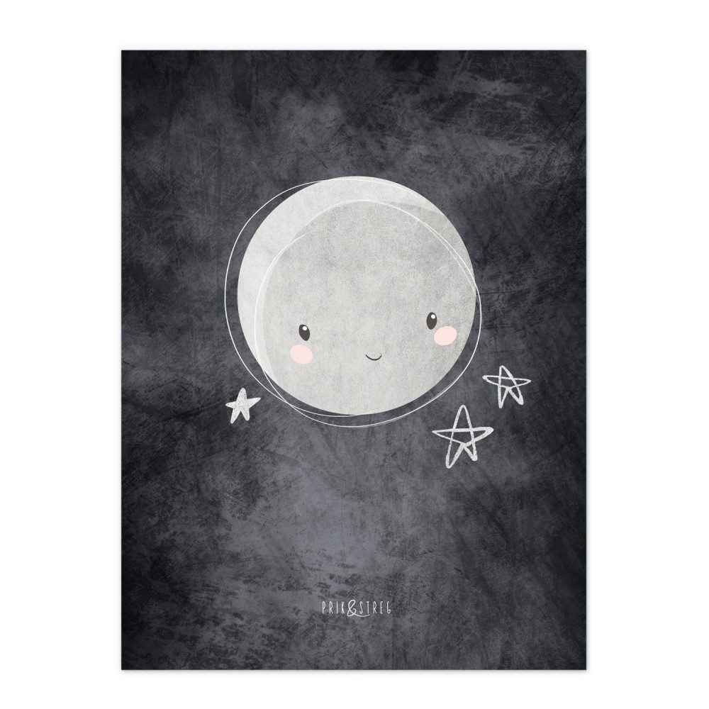Image of   To The Moon And Back - Sort Børneplakat