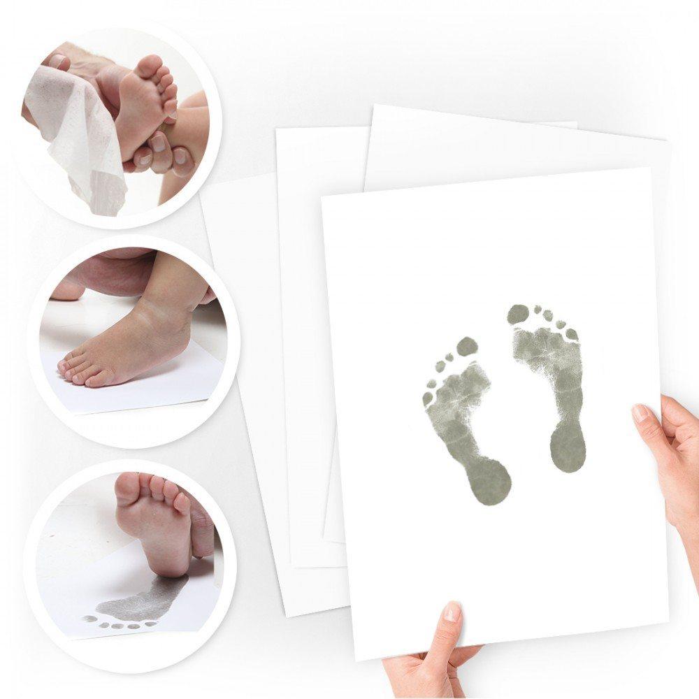b2622e4a2f51 Hånd og fodaftryk med 2 hvid rammer Baby Art