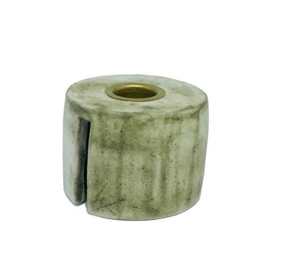 Image of   Keramik Lysestage i Marmor Look/Messing - Mellem