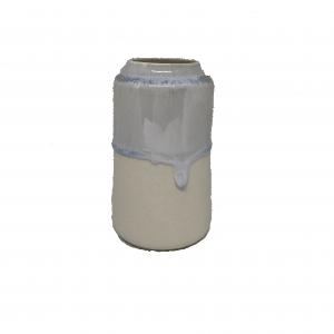 Keramik Vase Royal i Creme/Lyseblå - 12 cm