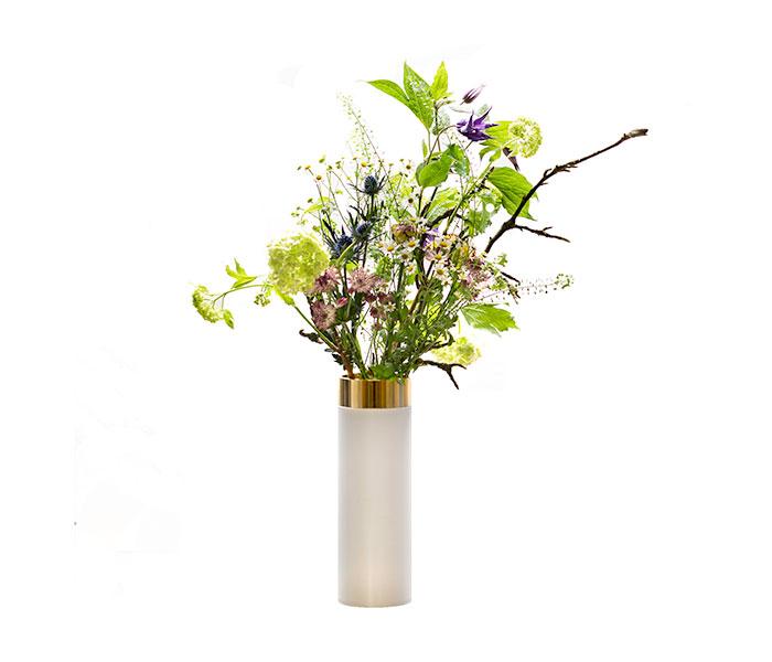Image of   Pipe Vase - Hvid/Messing - 24 cm