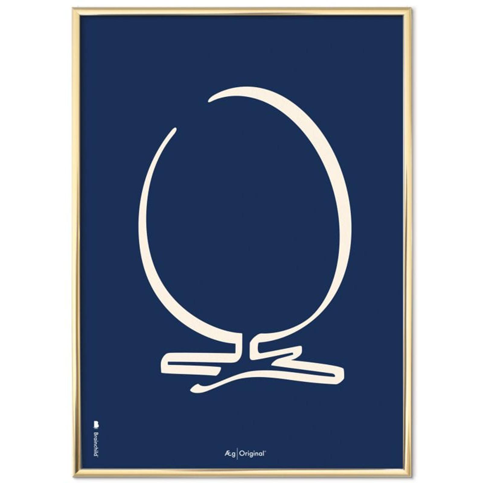 Billede af Brainchild - Plakat med Ægget - Streg - Blå Baggrund