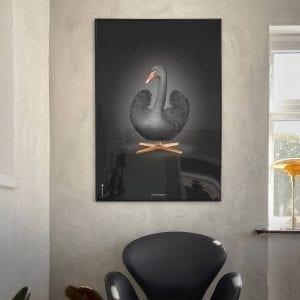 dansk-design-plakat-med-sort-svane-designplakat